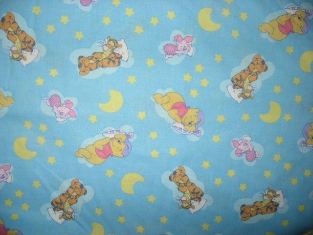 Pooh Tigger Piglet Stars and moons Light blue Sewing fabric by the yard