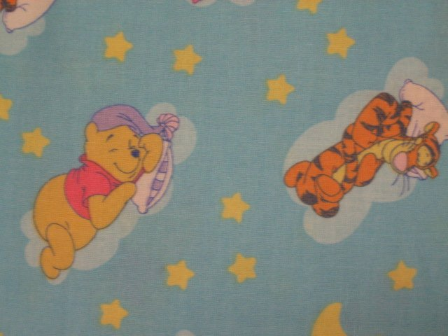 Image 1 of Pooh Tigger Piglet Stars and moons Light blue Sewing fabric by the yard