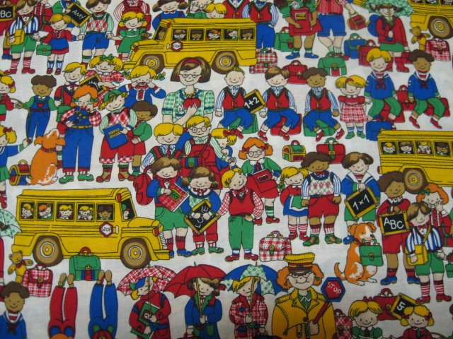 School bus children teacher students new sewing fabric by the yard
