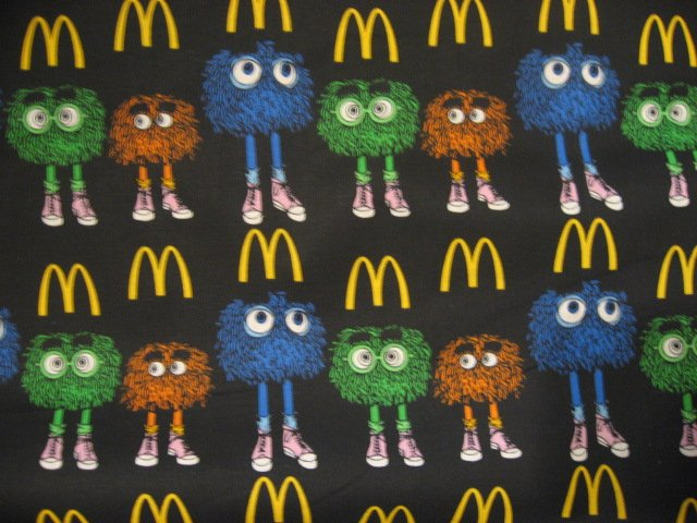 Image 0 of Ronald McDonald Fry Guys Black sewing fabric Fat Quarter 1/4 yard 18