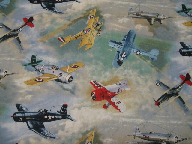 Warbirds airplanes 18X22 quilt fabric by the quarter yard or fat quarter rare
