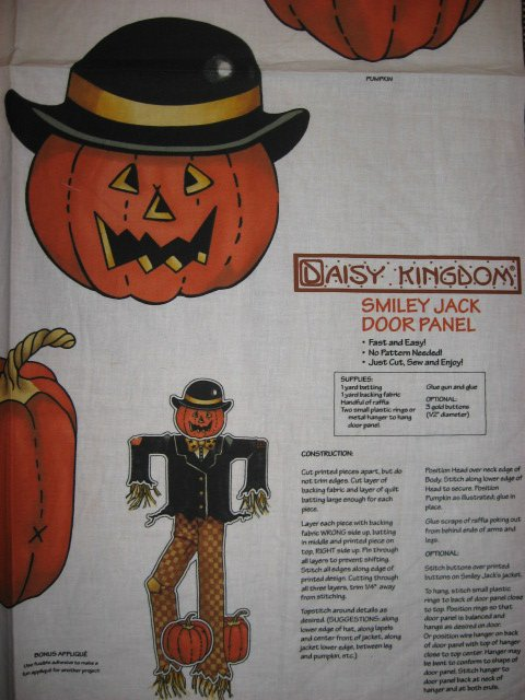 Image 1 of Daisy Kingdom Halloween Smiley Jack cotton fabric wall or door panel to make