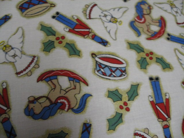 Rocking horses drums and soldiers Christmas  fabric by the yard