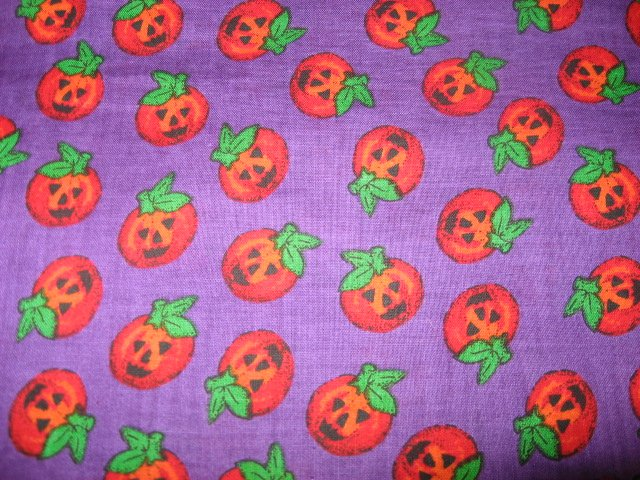 Halloween Pumpkins Smiling Purple sewing fabric by the yard