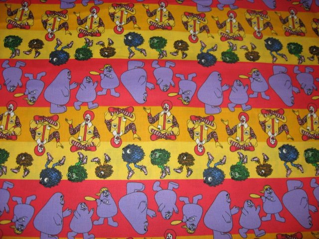 Image 0 of Ronald McDonald Grimace Stripes cotton fabric by the yard licensed