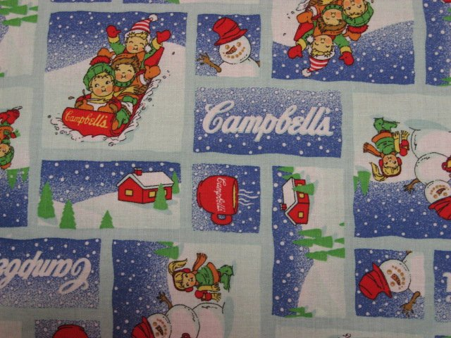 Campbell's Soup Kids Sled Snow Squares Sewing Fabric by the 1/4 yard