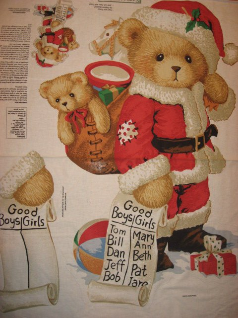 Daisy Kingdom Christmas Santa Teddy Bear fabric wall panel to sew