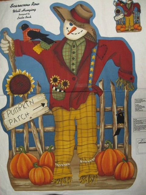 Image 0 of Leslie Beck snowman Scarecrow Pumpkin Sunflower Fabric Panel To Sew /
