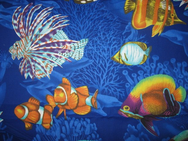 Daisy Kingdom Spiney Fish in the Sea and Ocean 100% cotton fabric by the yard