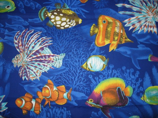 Image 1 of Daisy Kingdom Spiney Fish in the Sea and Ocean 100% cotton fabric by the yard