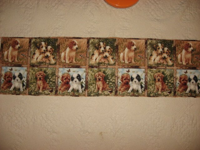 Dog Puppy Giordano Picture Fourteen Squares Fabric Uncut 12 X 45