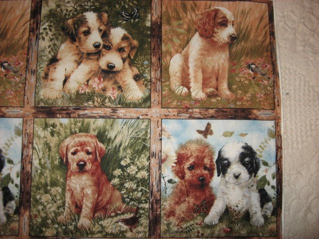 Image 1 of Dog Puppy Giordano Picture Fourteen Squares Fabric Uncut 12