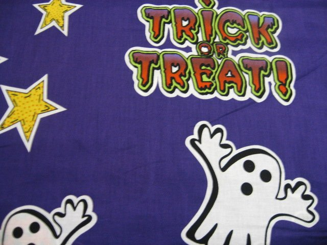 Halloween Bats Ghosts Cats Purple Applique Sewing Fabric