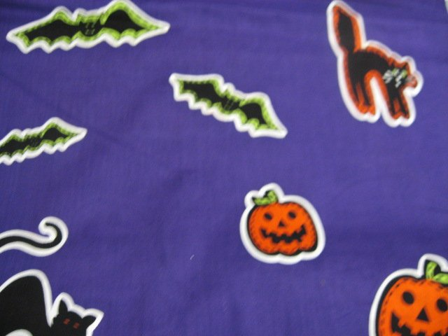 Image 1 of Halloween Bats Ghosts Cats Purple Applique Sewing Fabric
