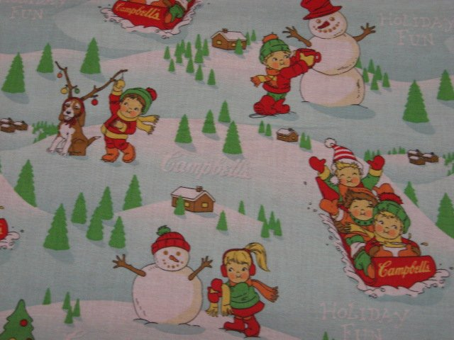 Campbell's Soup Kids Sled and snow Sewing Fabric by the 1/2 yard Rare