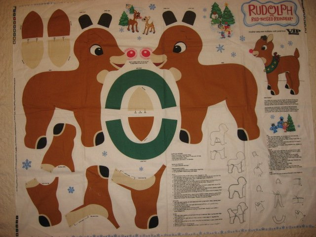 Rudolph the Red Nose Reindeer Fabric Doll Panel to sew and stuff