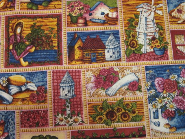Image 0 of Country Doll Bird House, Hat, and Fruit Cotton Fabric By the Yard