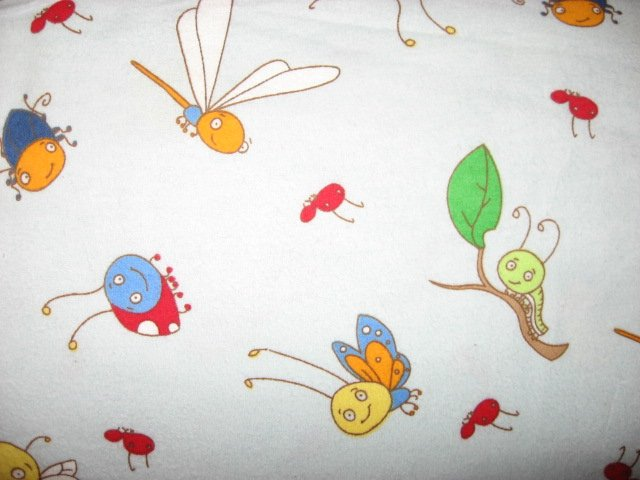 Bees Butterflies Caterpillars and Bugs Light blue 100% cotton Flannel