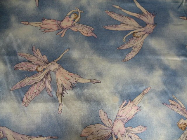 Dancing Winged Fairies Blue Flannel Backed Satin Fabric by the yard