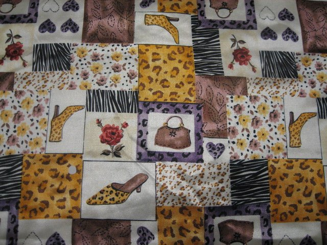 Shoes Bags Unusual Print Flannel Backed Satin 45 X 35
