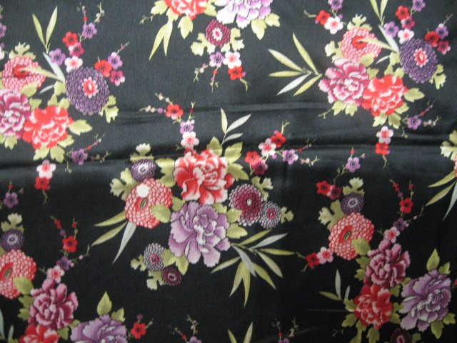 Oriental Flowers Flannel Backed Satin By The Yard