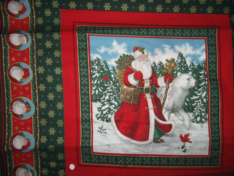 Old world Christmas  Santa and Reindeer and bear 2 Fabric Pillow panels to sew