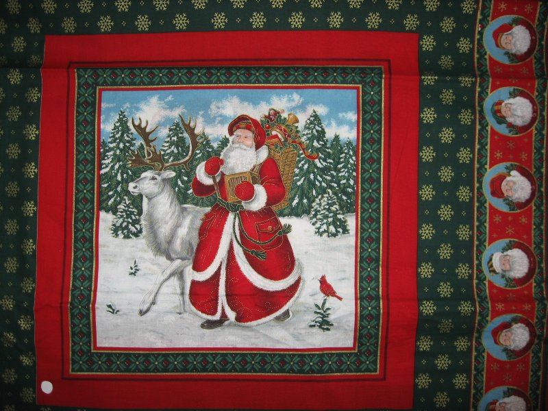 Image 1 of Old world Christmas  Santa and Reindeer and bear 2 Fabric Pillow panels to sew
