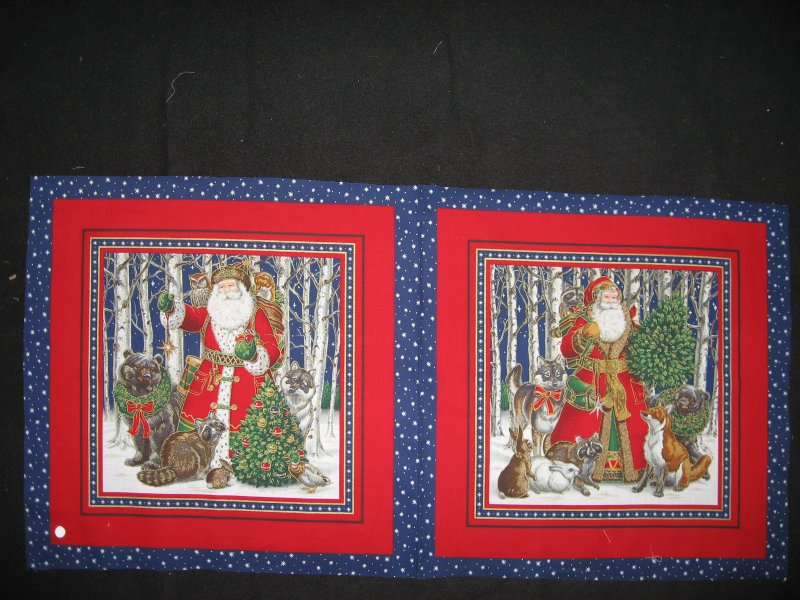Old world Christmas  Santa fox and bear animals 2 Fabric Pillow panels to sew