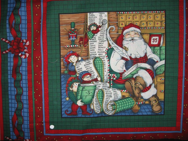 Old world Christmas Santa with toys + one with list Fabric Pillow panels to sew