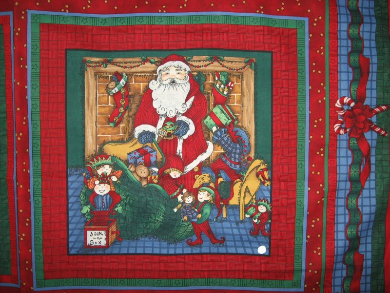 Image 1 of Old world Christmas Santa with toys + one with list Fabric Pillow panels to sew