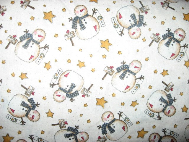 Image 0 of Snowmen with stars and birdhouses in Winter Sewing Fabric by the yard