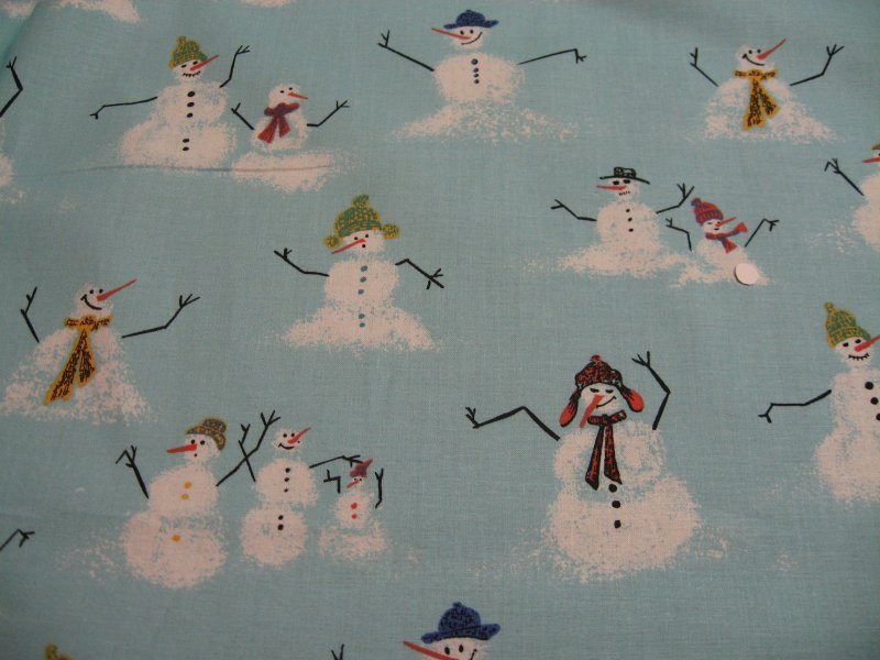 Image 0 of Snowmen with Stick Arms melting in Winter 100% cotton Fabric by the yard
