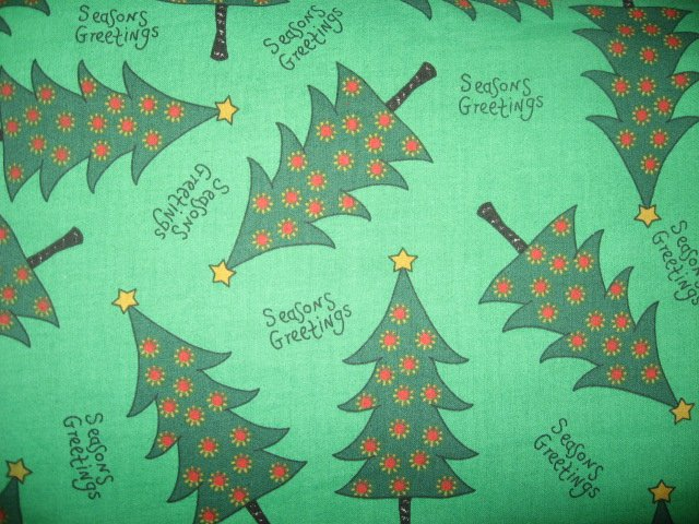 Seasons Greetings Christmas Trees Green Cotton Fabric by the yard