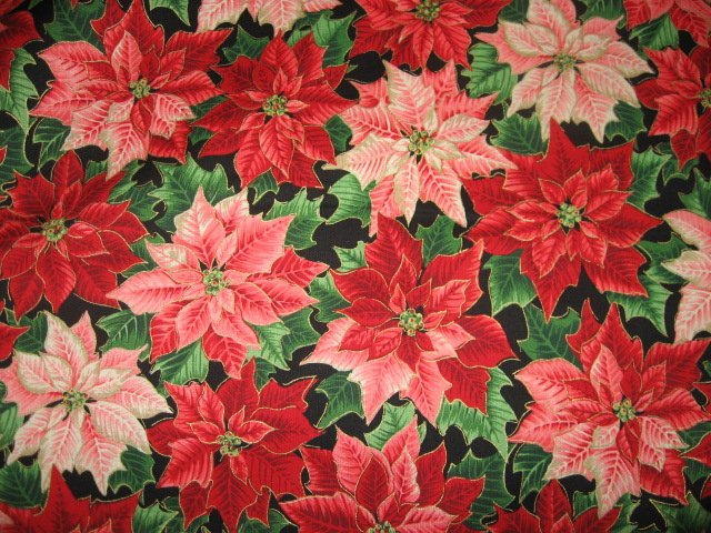 Pointsettias Christmas Flower Cotton Sewing Fabric by the yard