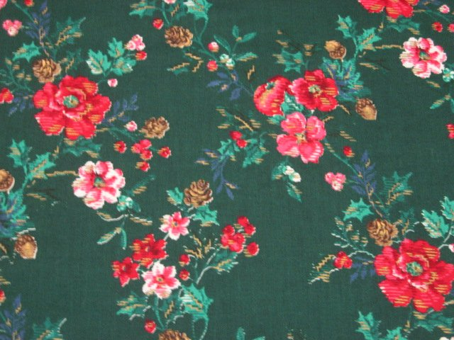 Christmas Rose Acorns and Pine Cones Cotton Fabric By the yard
