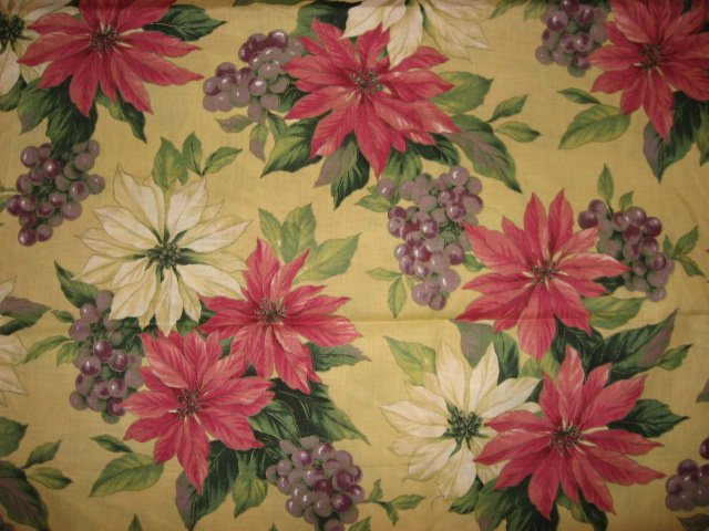 Grapes and Pointsettias Christmas Beige Cotton Fabric 60 wide