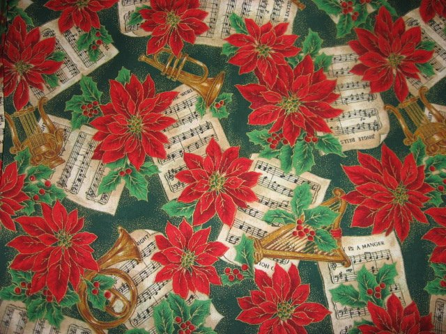Image 0 of Pointsettia Flowers trumpets harps and Christmas Sheet Music 100% Cotton Fabric