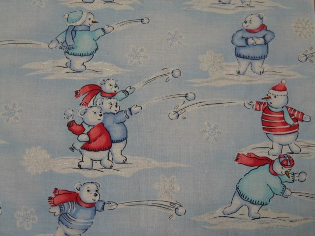 Image 0 of Bears Snowmen Snow Balls Christmas Cotton Fabric by the yard