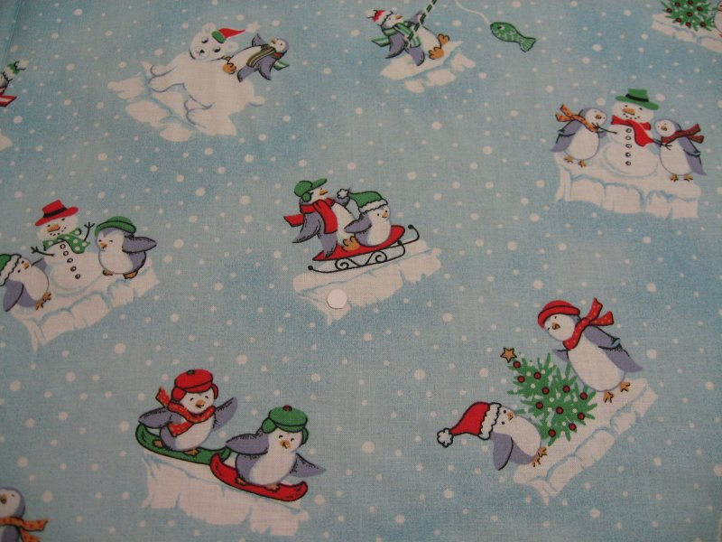 Polar Bears and Penguins Whimsical Christmas Sewing Fabric by the yard