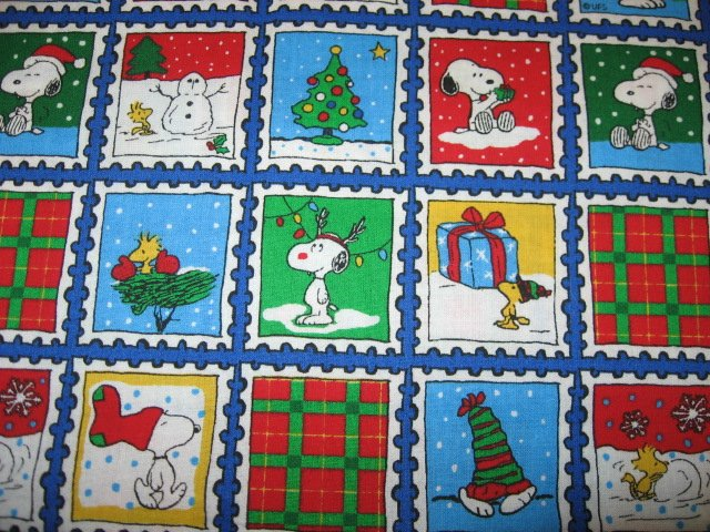 Image 0 of Snoopy Snowman Christmas Present Fabric Fat Quarter 1/4 yard