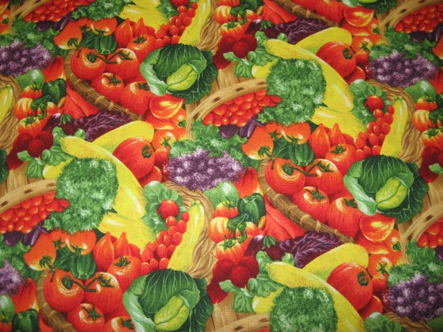 Image 0 of Kyle's Marketplace Mixed Vegetables Fabric Kyles 1/4 yard
