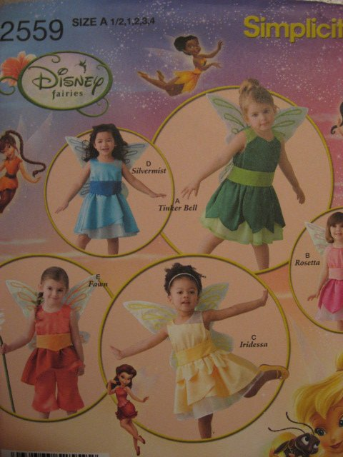 Disney Tinkerbell sewing pattern 2559 for Fairy Costume SZ 1/2 - 4