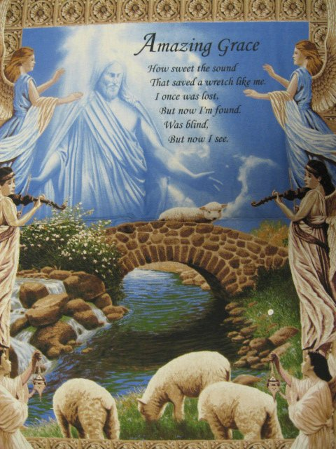 Image 0 of Amazing Grace Jesus Angel Prayer Fabric Wall Panel to sew 36