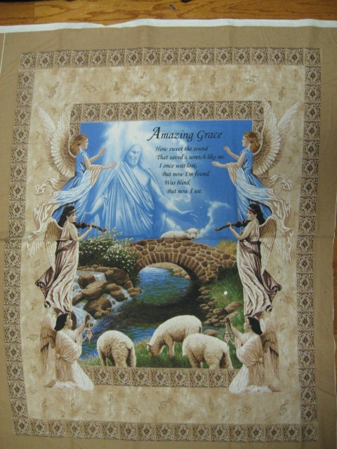 Image 1 of Amazing Grace Jesus Angel Prayer Fabric Wall Panel to sew 36