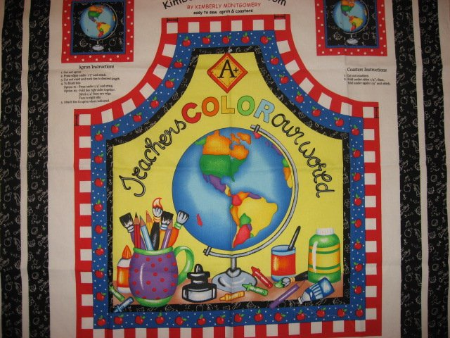 Teachers Color Our World Apple Paint Fabric Apron to sew