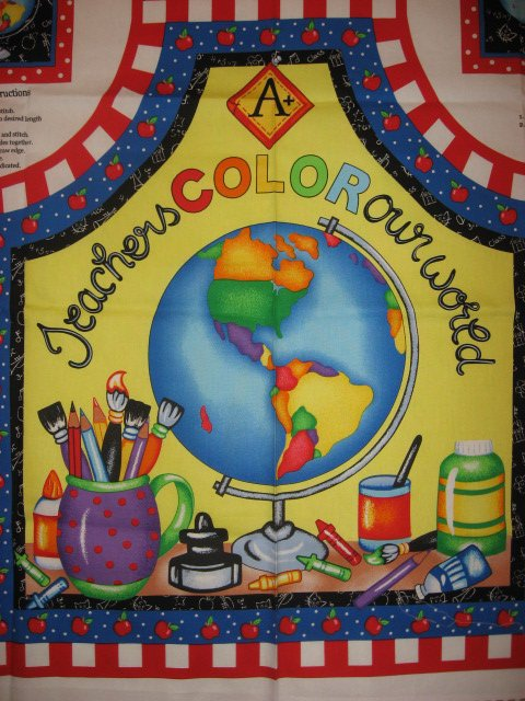 Image 1 of Teachers Color Our World Apple Paint Fabric Apron to sew