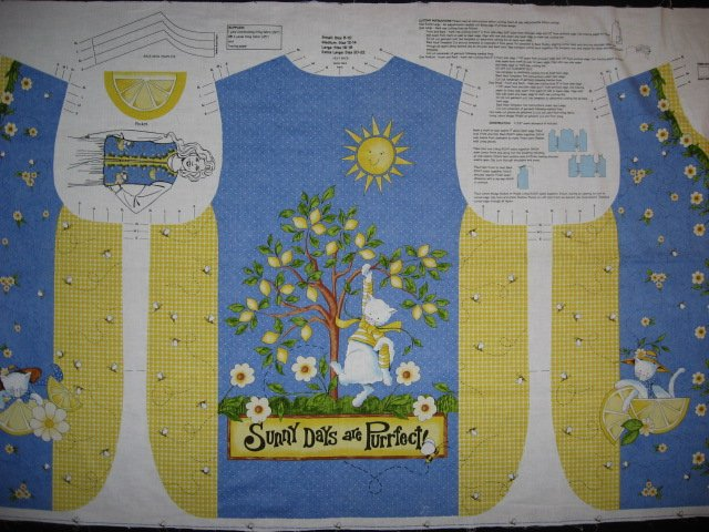 Daisy Kingdom Fabric Vest Lemons and Sunshine cat to sew
