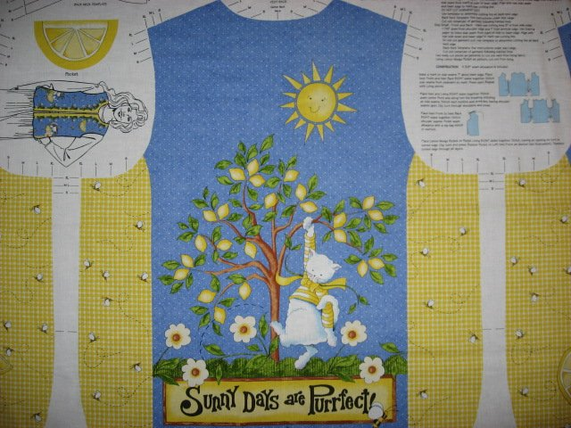 Image 1 of Daisy Kingdom Fabric Vest Lemons and Sunshine cat to sew