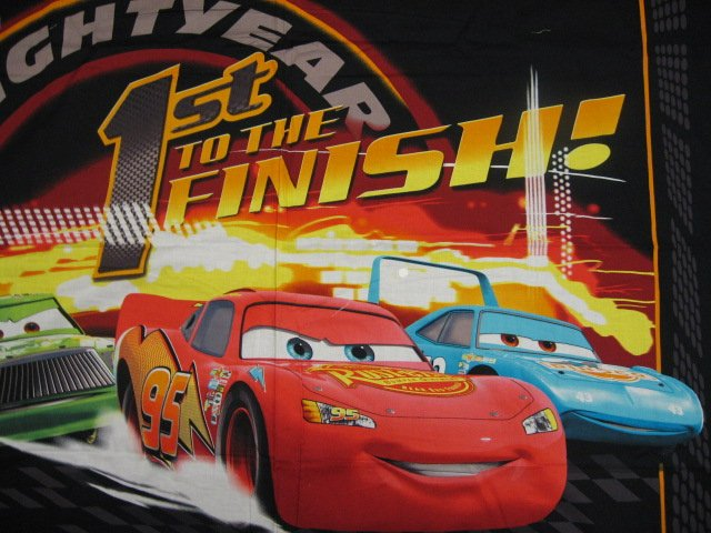 Image 1 of Pixar Cars to the finish Cotton Fabric Quilt Wall Throw Panel to sew