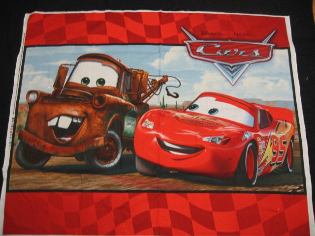 Pixar Cars original Red Cotton Fabric Quilt Wall Throw Panel to sew
